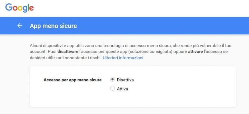 accedere con programmi poco sicuri a gmail